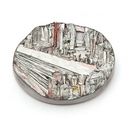Attai Chen, brooch 2017, paper, paint, silver, wood, graphite, stainless steel, 54x42x25mm
