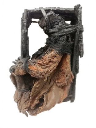 Jorge Manilla, Piedad, brooch, wood, treebark, Polymer gypsum, steel, leather, 2019