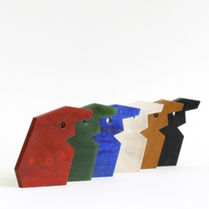 Warwick Freeman, Coloured Miki, hangers, 2010, steen